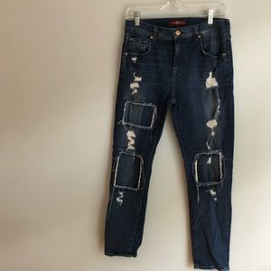 7 for all mankind distressed, patch Jeans